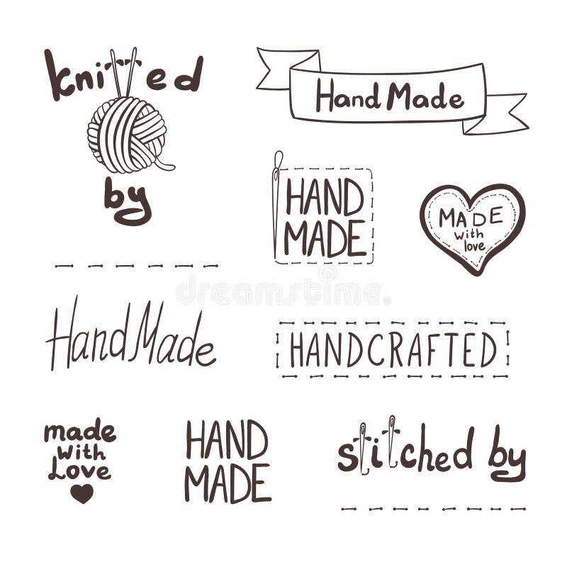 Bakgrund för handgjorda symboler för vektor hand dragen fastställd, skissade etiketter stock illustrationer