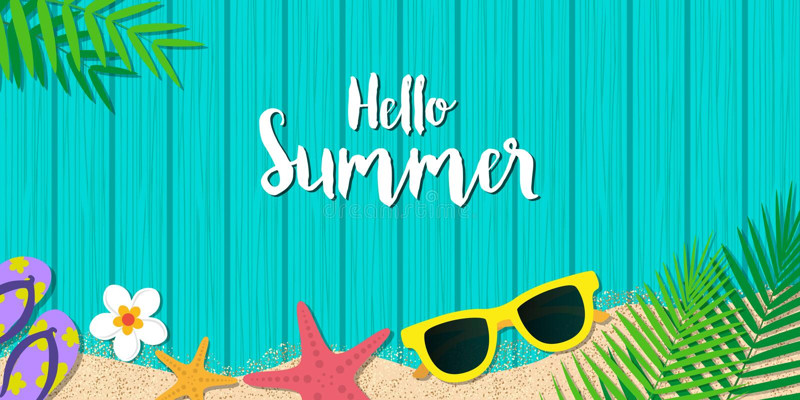 Bakgrund för Hello sommarferie Säsongsemester, helg Vecto royaltyfri illustrationer