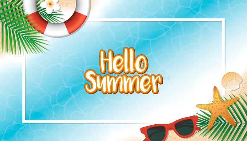Bakgrund för Hello sommarferie Säsongsemester, helg Vecto stock illustrationer