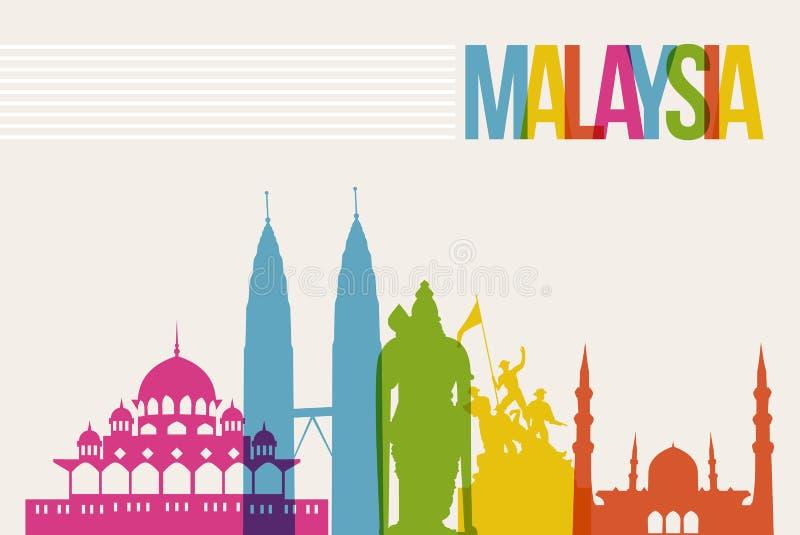Bakgrund för horisont för gränsmärken för loppMalaysia destination stock illustrationer