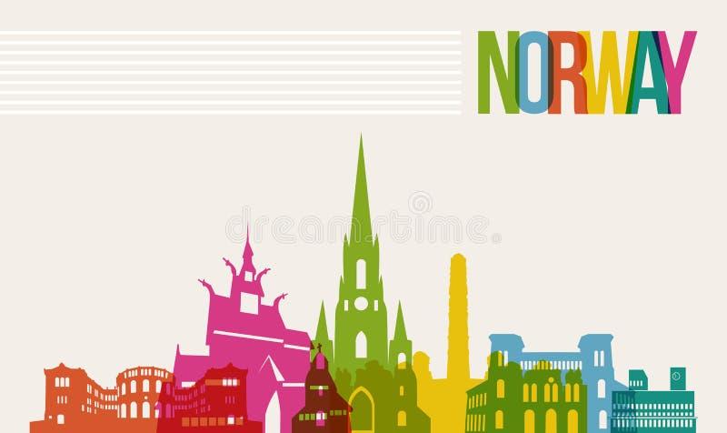 Bakgrund för horisont för gränsmärken för loppNorge destination royaltyfri illustrationer