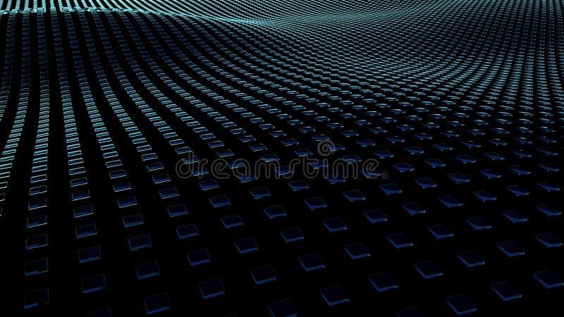bakgrund för illustration 3D av fyrkanter på yttersidor med vågor vektor illustrationer