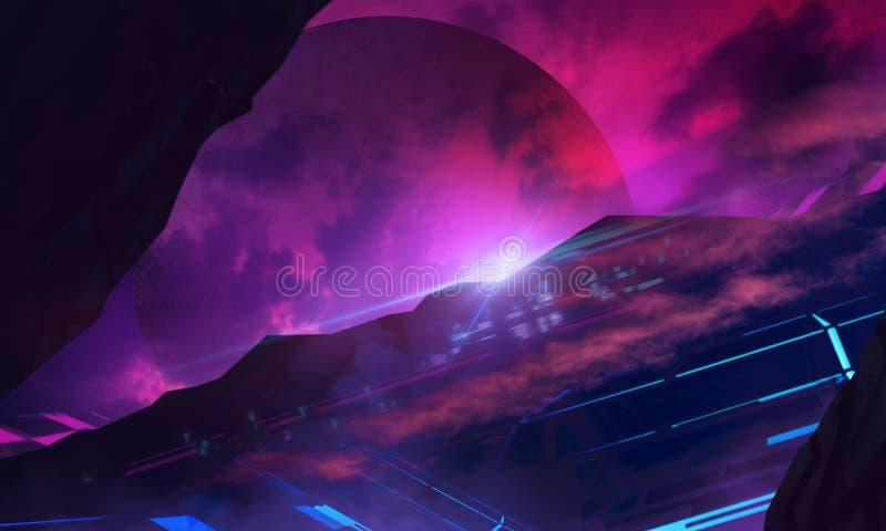 Bakgrund för illustration för Furusistic science fictionutrymme vektor illustrationer