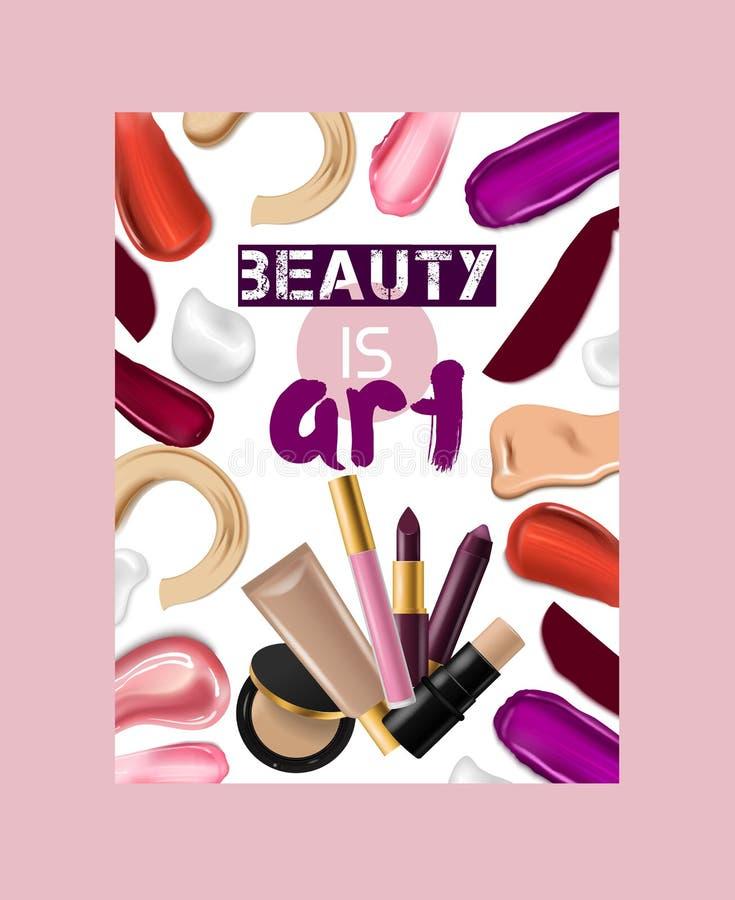 Bakgrund för illustration för konst för makeup för kant för lipgloss för härligt mode för röd färg för läppstiftmodellvektor rosa stock illustrationer
