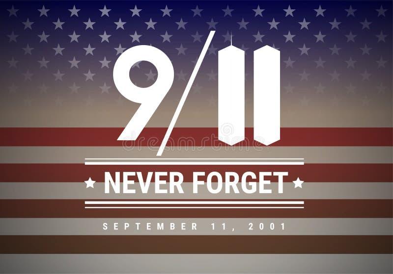 9/11 bakgrund för illustration för patriotdagvektor Vi skallr aldrig F stock illustrationer