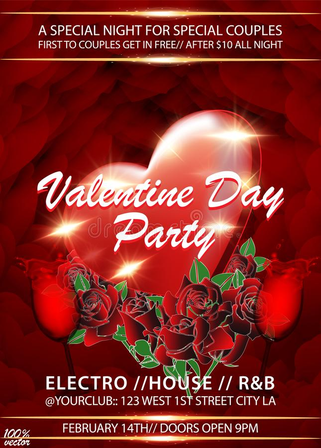 Bakgrund för inbjudan för valentindagparti med rosor, röd hjärta och exponeringsglas av vin vektor illustrationer