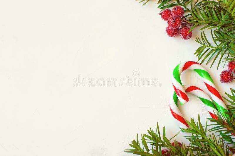 Bakgrund för jul eller för nytt år: granträdfilialer, röda bär, godisrotting, garnering på en vit murbrukbakgrund royaltyfria foton