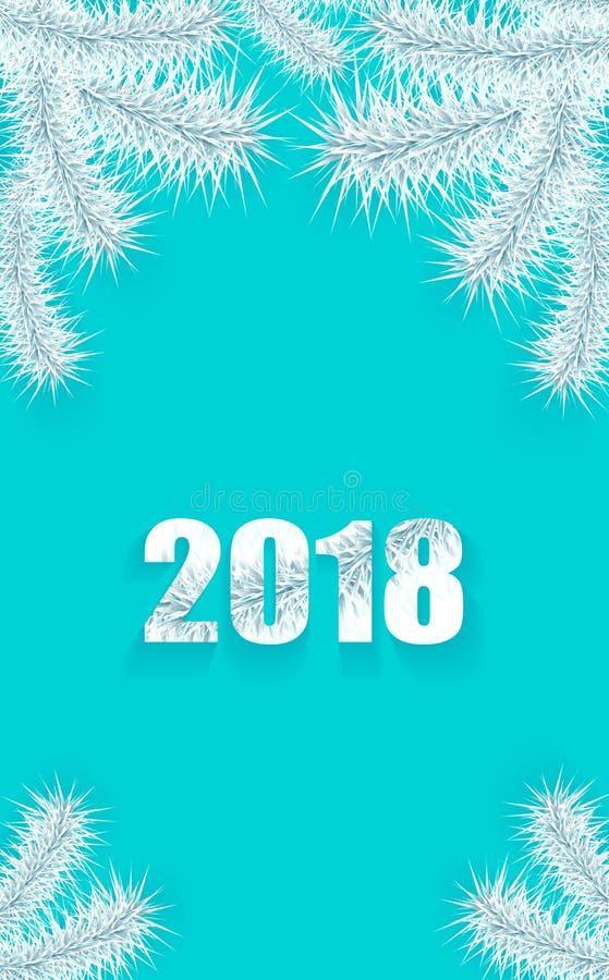 Bakgrund för jul eller för nytt år med silver för trädfilial på cyan blått stock illustrationer