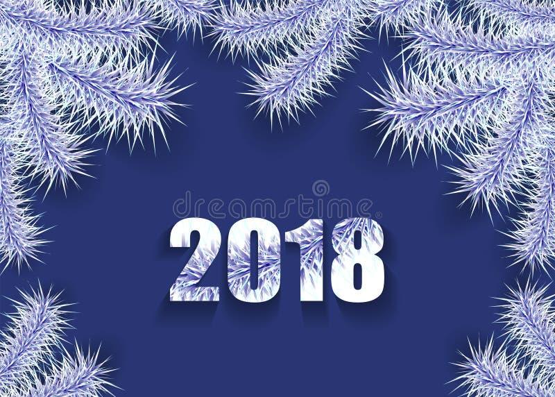Bakgrund för jul eller för nytt år med silver för trädfilial på mörker - blått stock illustrationer