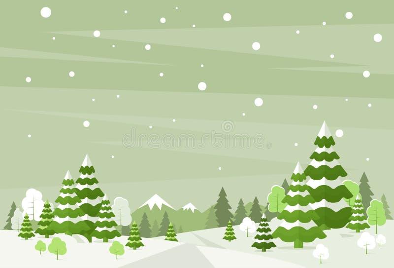 Bakgrund för jul för vinterskoglandskapet, sörjer stock illustrationer