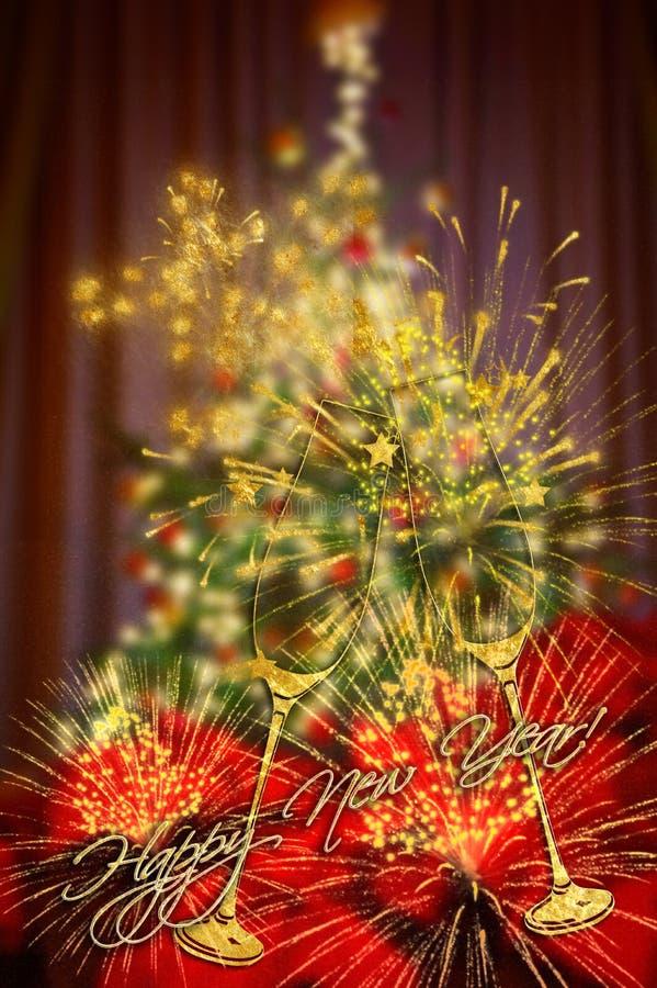 Bakgrund för julabstrakt begreppsuddighet med dekorerad och tänd Kristus royaltyfri fotografi