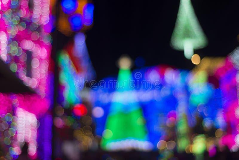 Bakgrund för julbokehferie arkivfoton