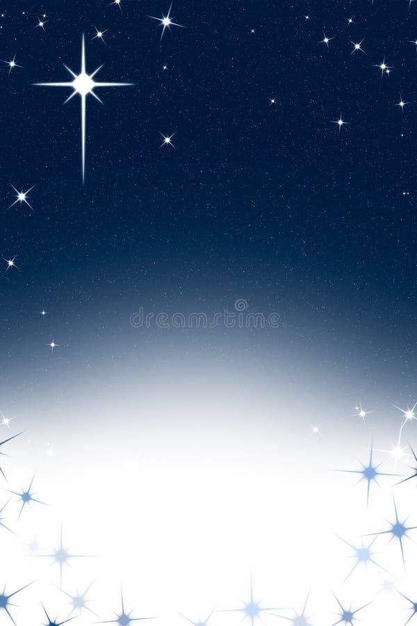 Bakgrund för julnatthimmel med blå vit lutning för stjärnor vektor illustrationer