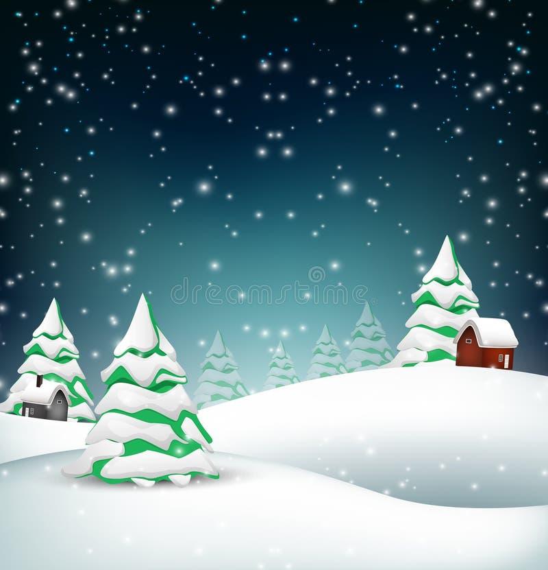 Bakgrund för julvinterlandskap stock illustrationer