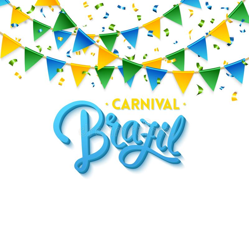 Bakgrund för karnevalBrasilien text med flaggavektorbild royaltyfri illustrationer