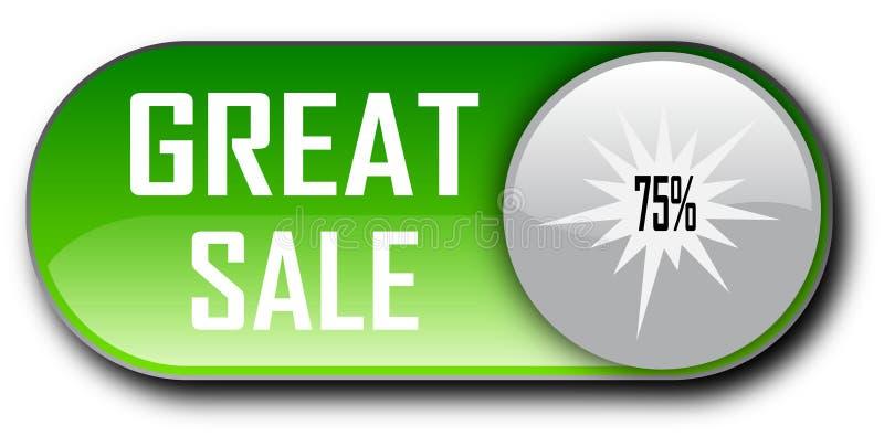 Bakgrund för klassisk knapp för knapp för rengöringsduk för erbjudande för spisgallerförsäljning 75% vit royaltyfri illustrationer