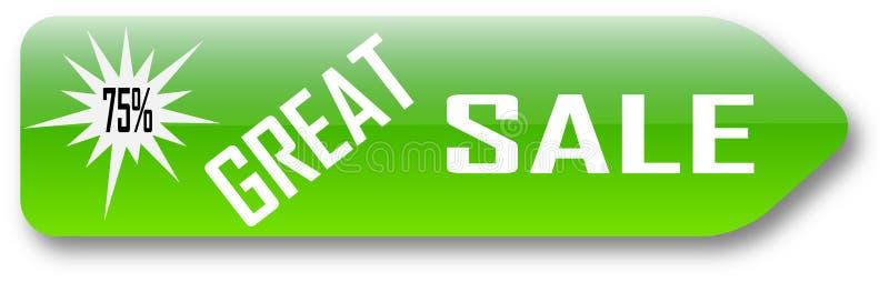 Bakgrund för klassisk knapp för knapp för rengöringsduk för erbjudande för spisgallerförsäljning 75% vit stock illustrationer