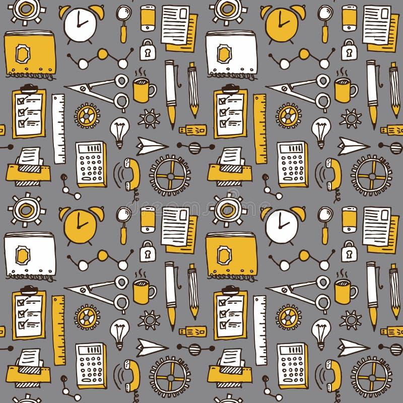 Bakgrund för kontor för affärsklotter sömlös, vektor vektor illustrationer