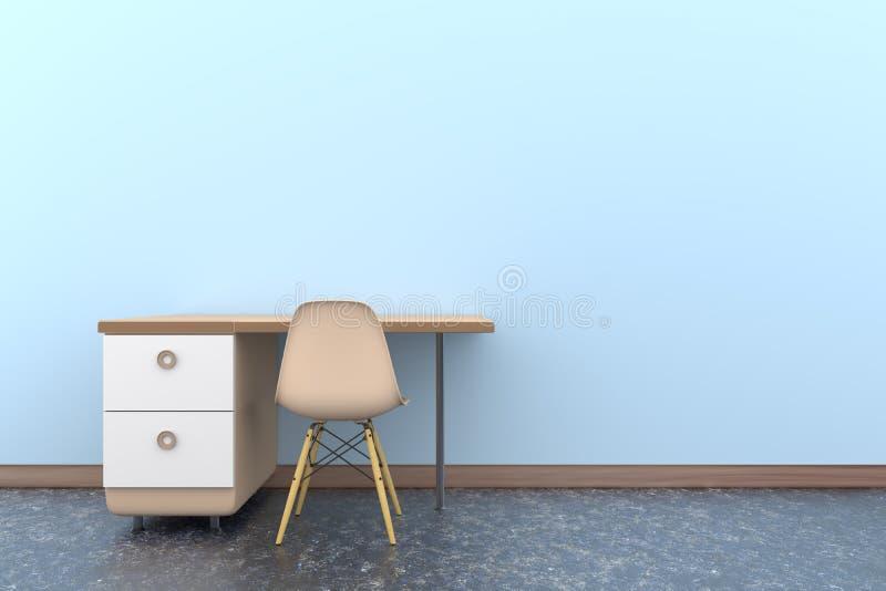 bakgrund för kontor för stol för tabell 3d royaltyfri foto