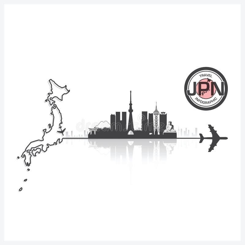 Bakgrund för kontur för Japan horisontbyggnader royaltyfri illustrationer