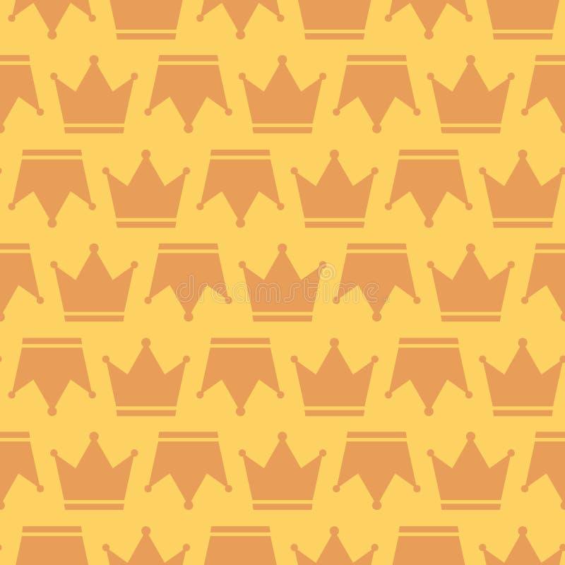 Bakgrund för kontur för tecken för kronakonung And Queen Royal sömlös stock illustrationer