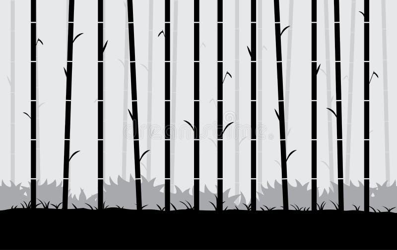 Bakgrund för konturbambuvektor stock illustrationer