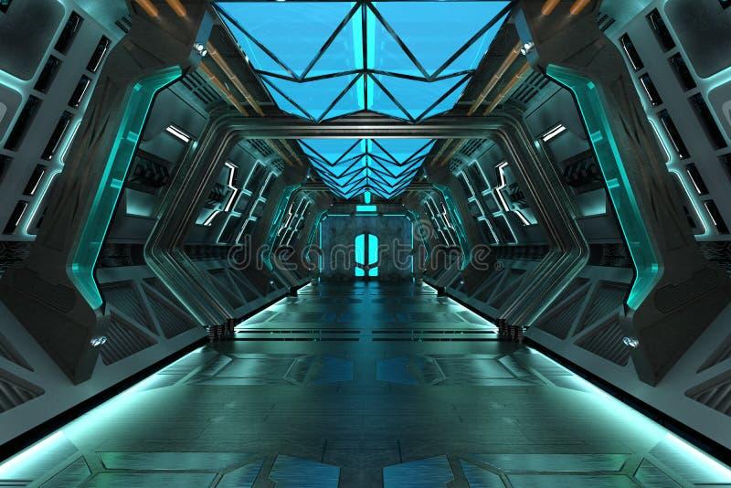 Bakgrund för korridor för science fictiongrunge metallisk blå royaltyfri illustrationer