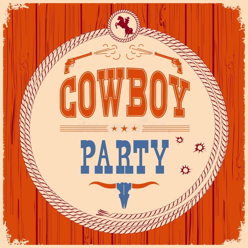 Bakgrund för kort för cowboyparti västra med vapen vektor illustrationer