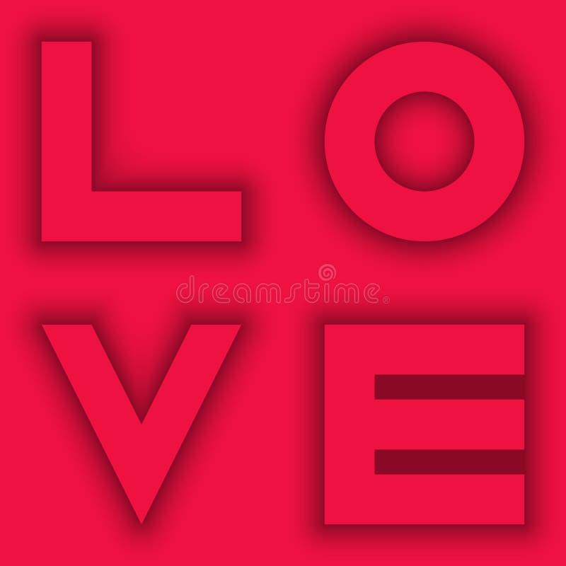 Bakgrund för kort för valentindaghälsning med ordförälskelse på rosa bakgrund Begrepp för att gifta sig inbjudanräkningen i pappe royaltyfri illustrationer