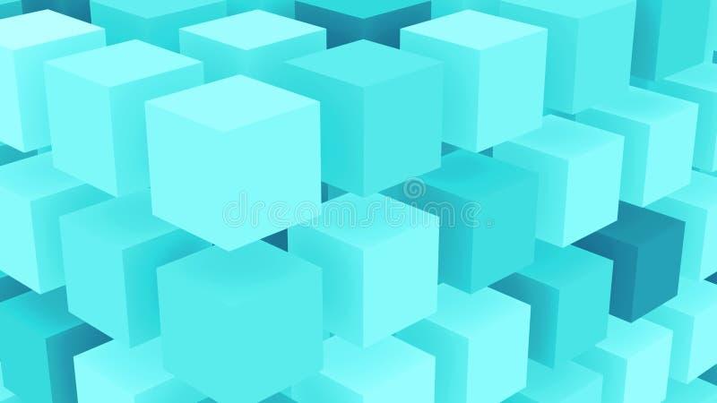Bakgrund för kuber för Fluo blåttis royaltyfri illustrationer