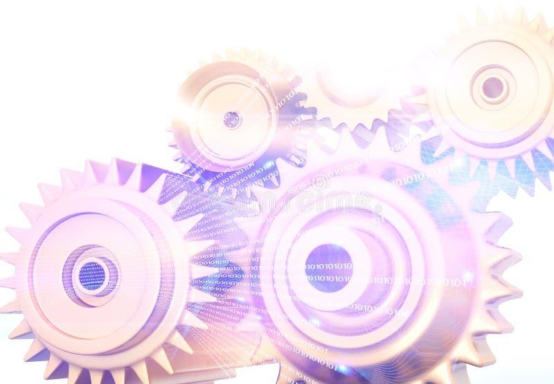 bakgrund för kugghjul 3d royaltyfri illustrationer