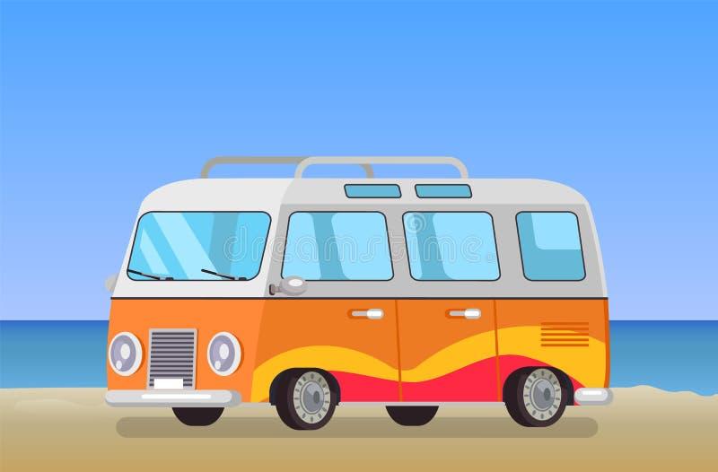 Bakgrund för kustlinje för buss för husvagnsläpresande stock illustrationer