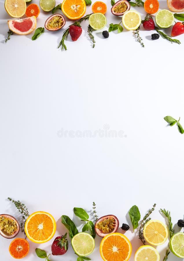 Bakgrund för lätt bladfruktstruktur med citrus arkivbild