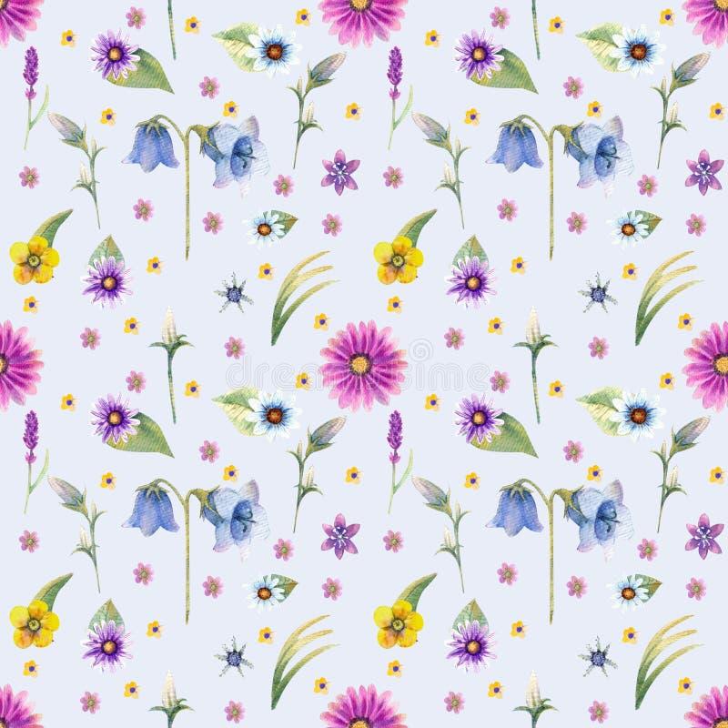 Bakgrund för lösa blommor seamless modell Bakgrundsvattenfärg för lösa blommor royaltyfri illustrationer