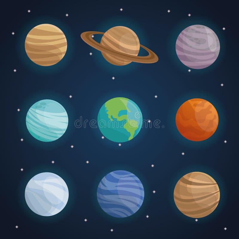 Bakgrund för landskap för färgutrymme med planeter av solsystemet stock illustrationer