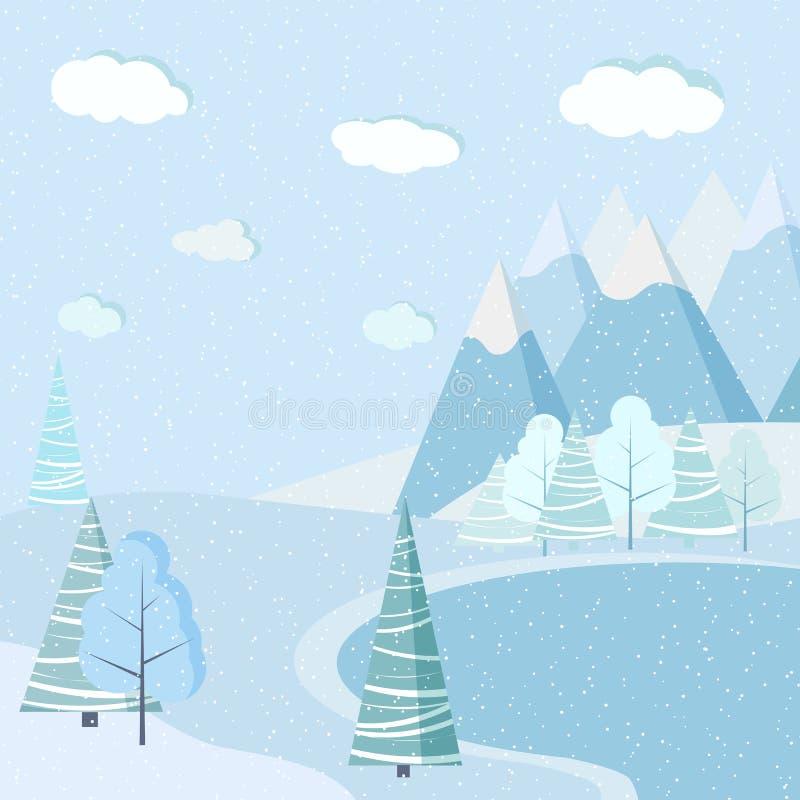 Bakgrund för landskap för sjö för härlig julvinter djupfryst med berg, snö, träd, granar stock illustrationer