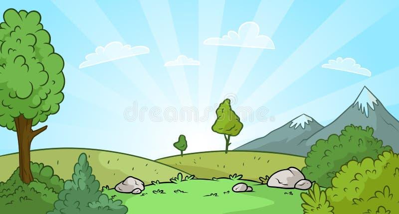 Bakgrund för landskap för tecknad filmsoluppgångnatur vektor illustrationer