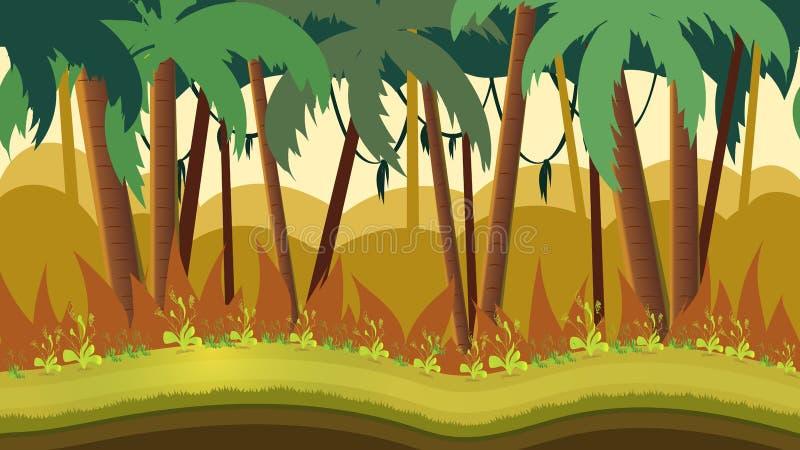 Bakgrund för lekapps eller mobil utveckling Tecknad filmnaturlandskap med djungeln Format 1920x1080 royaltyfri illustrationer
