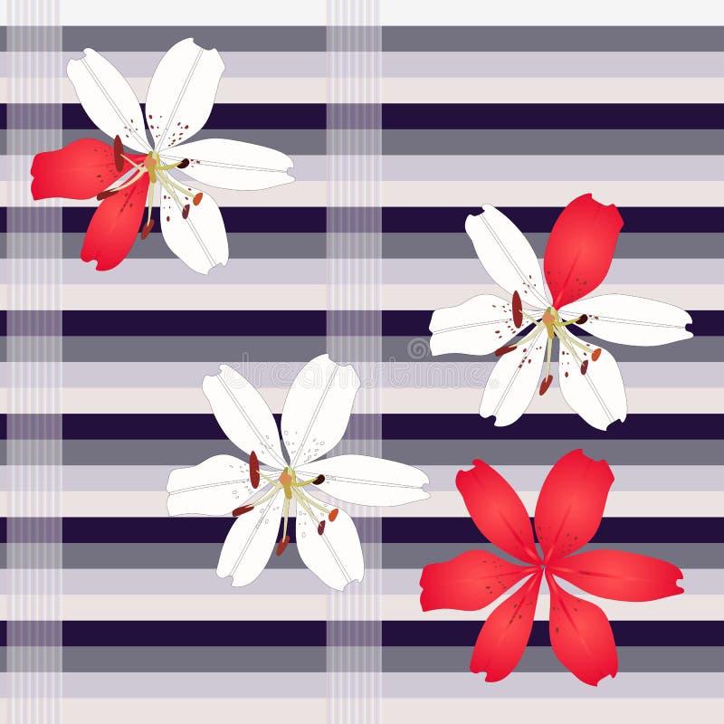 Bakgrund för liljablommaband i vektor seamless blom- modell Tryck för tyg Begreppsmässig grafisk illustration stock illustrationer