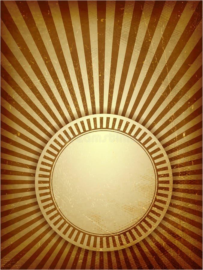 Bakgrund för ljusa strålar för Brown grunge royaltyfri illustrationer