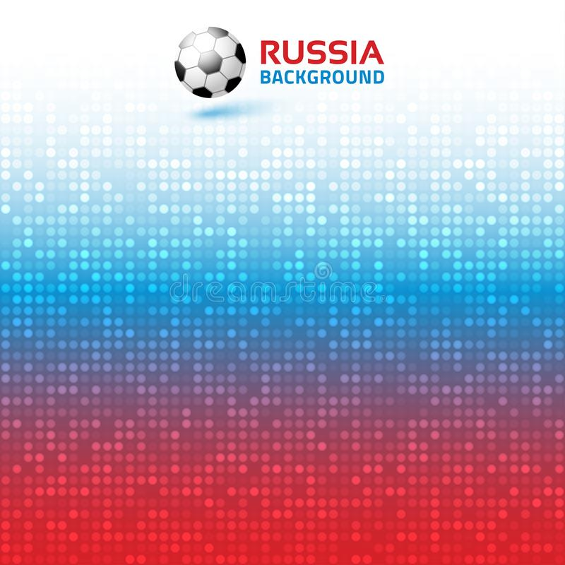 Bakgrund för ljust rött blått PIXEL för lutning digital Ryssland 2018 flaggafärger Symbol för fotbollboll också vektor för coreld vektor illustrationer