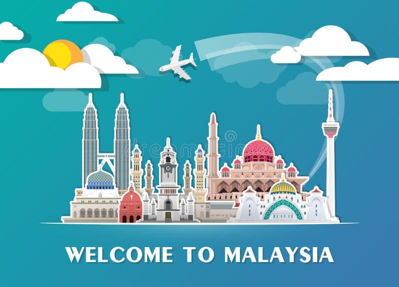 Bakgrund för lopp och för resa för Malaysia gränsmärke global pappers- som för delstiker för design den trevliga mallen som använ vektor illustrationer