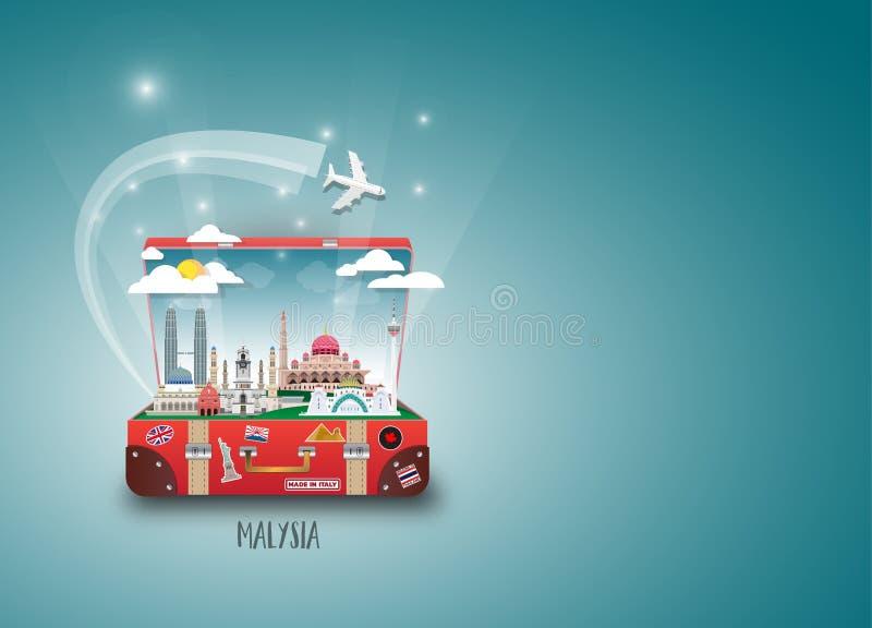 Bakgrund för lopp och för resa för Malaysia gränsmärke global pappers- Ve vektor illustrationer