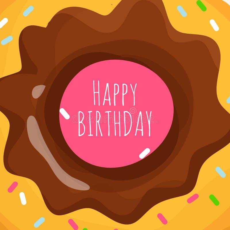 Bakgrund för lycklig födelsedag med den söta tecknad filmmunken stock illustrationer