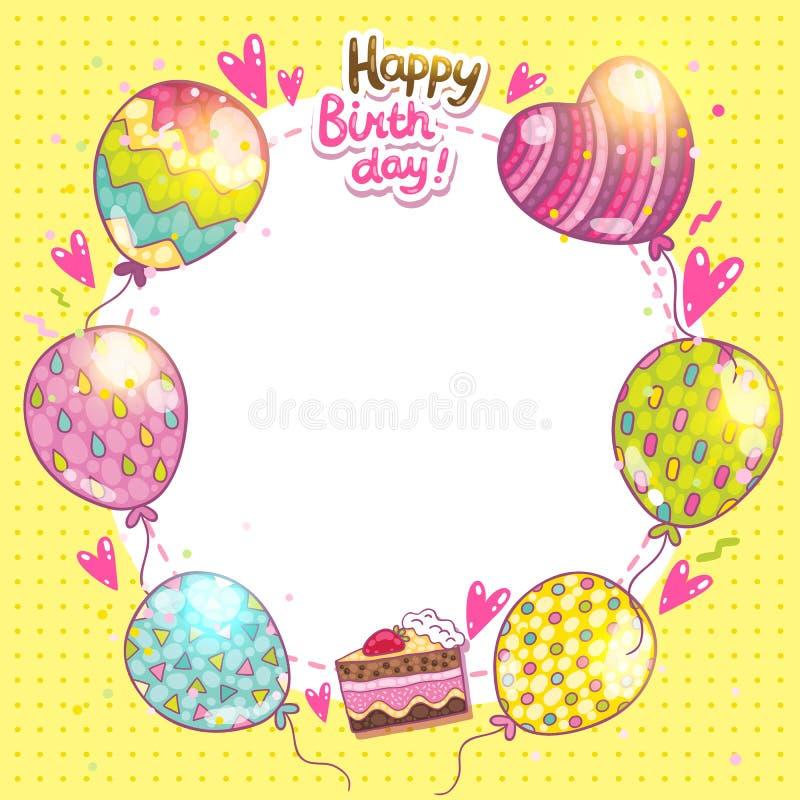 Bakgrund för lycklig födelsedag med kakan och ballonger. stock illustrationer