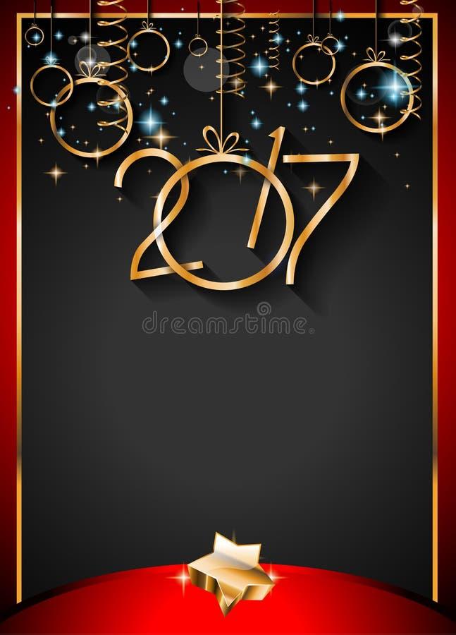 2017 bakgrund för lyckligt nytt år för dina säsongsbetonade reklamblad stock illustrationer