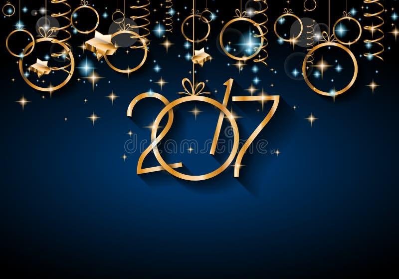 2017 bakgrund för lyckligt nytt år för dina säsongsbetonade reklamblad royaltyfri illustrationer