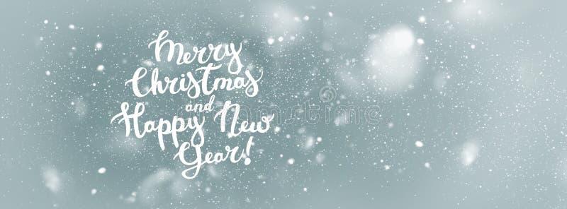 Bakgrund för lyckligt nytt år för glad jul för text royaltyfri illustrationer