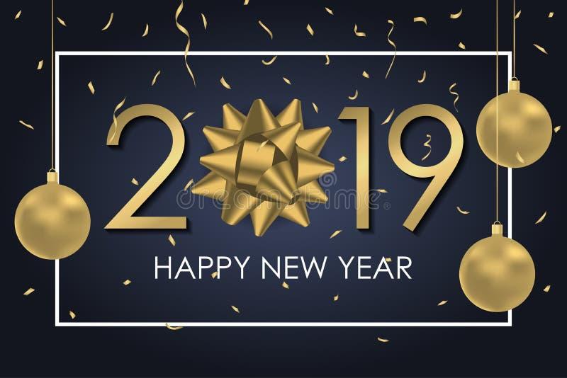 2019 bakgrund för lyckligt nytt år med den guld- gåvapilbågen, nummer, ramen och guld- konfettier Julferiekort eller baner vektor vektor illustrationer