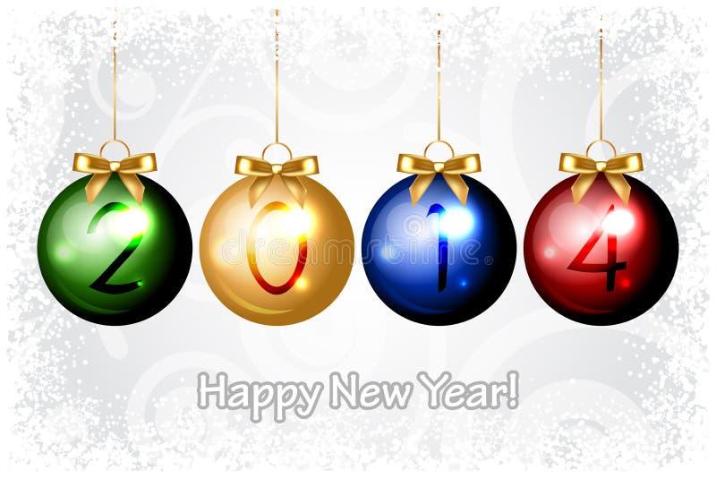 2014 bakgrund för lyckligt nytt år med färgrik jul de stock illustrationer